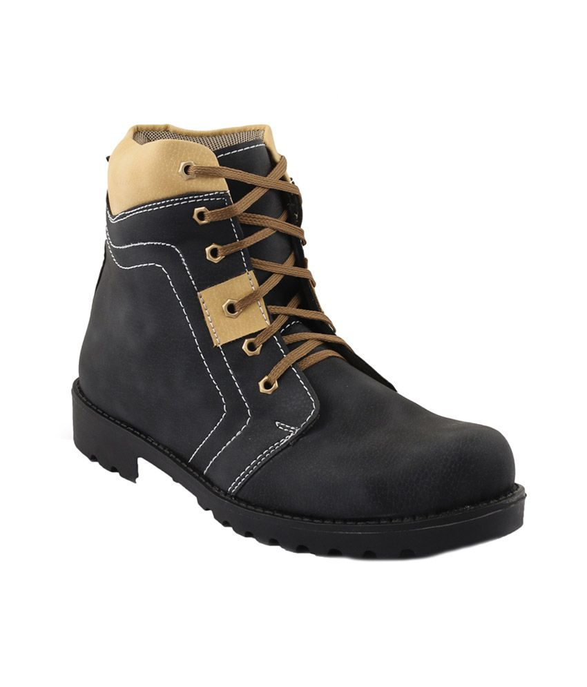 Muxyn Black Synthetic Leather Boot