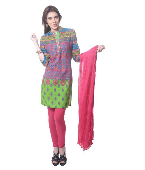 Saving Tree Multi Color Cotton Stitched Suit