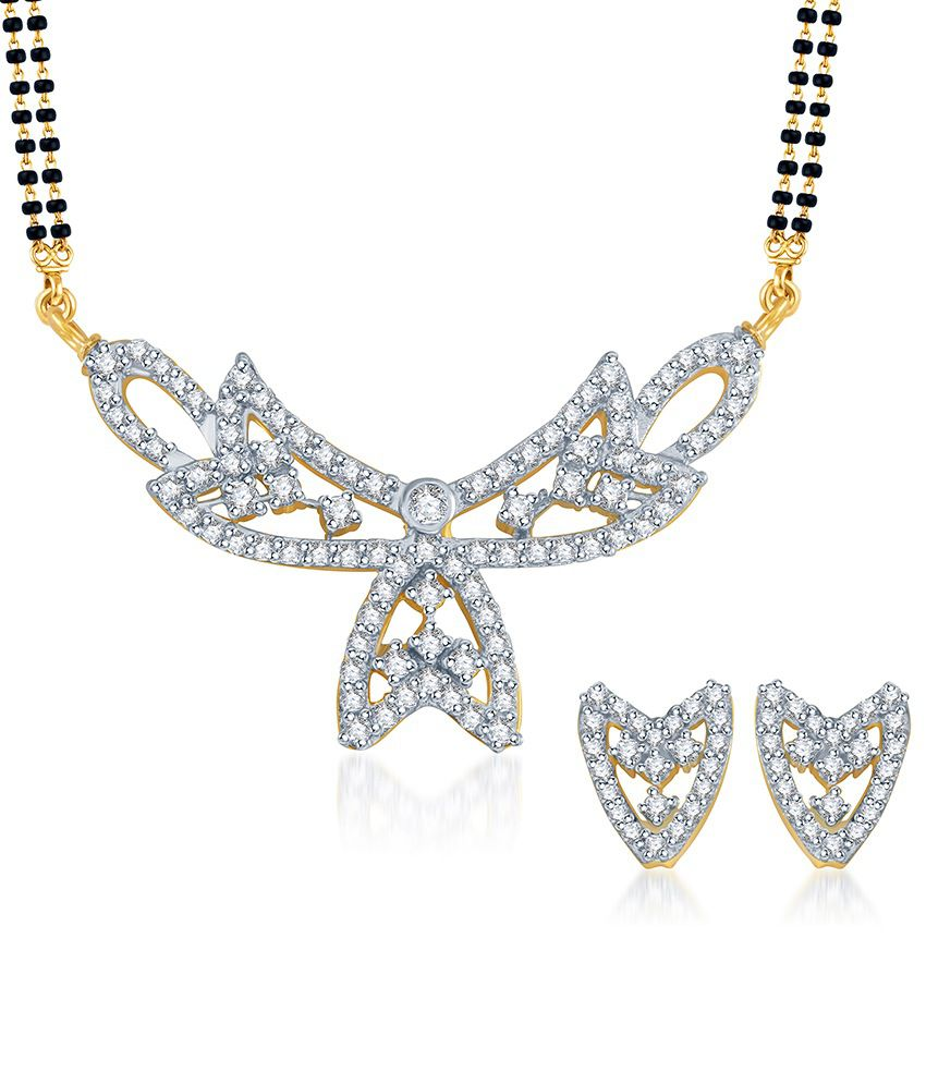 Sukkhi Attractive Gold & Rhodium Plated CZ Mangalsutra Set (Mangalsutra Mala may vary from the actual image)