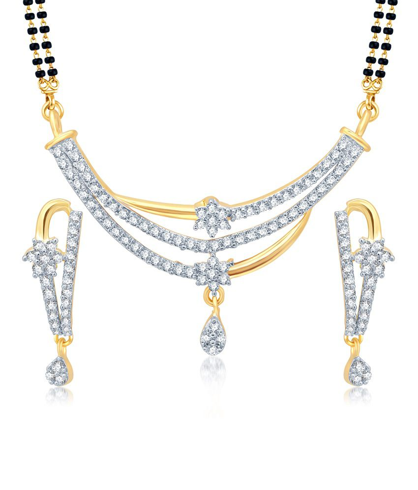Sukkhi Delightful Gold and Rhodium Plated Cubic Zirconia Stone Studded Mangalsutra Set (Mangalsutra Mala may vary from the actual image)