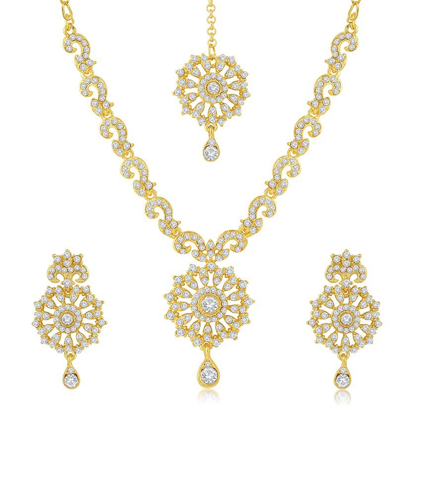 Sukkhi Fabulous Gold Plated Australian Diamond Stone Studded Necklace Set