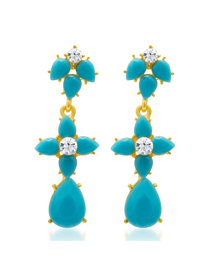 Sukkhi Gleaming Blue Floral Earrings