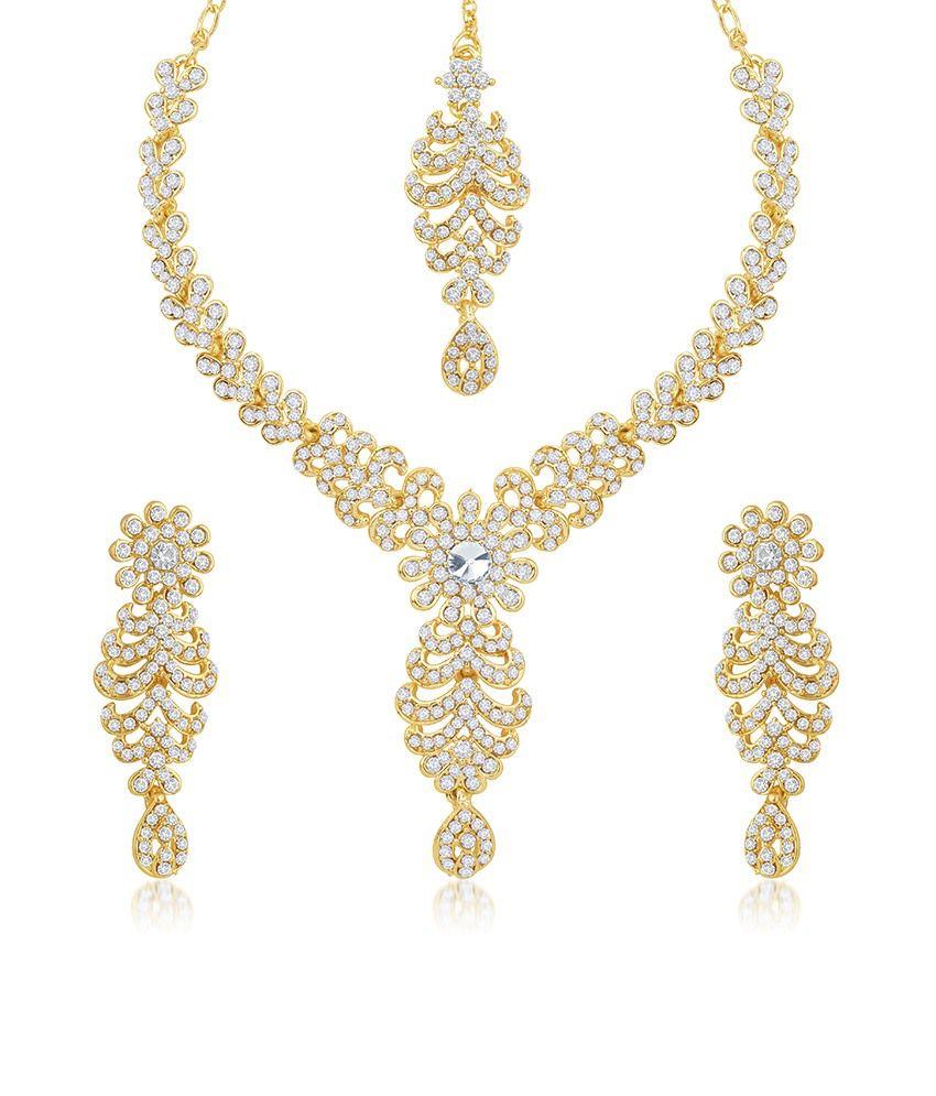 Sukkhi Gleaming Gold Plated Australian Diamond Stone Studded Necklace Set