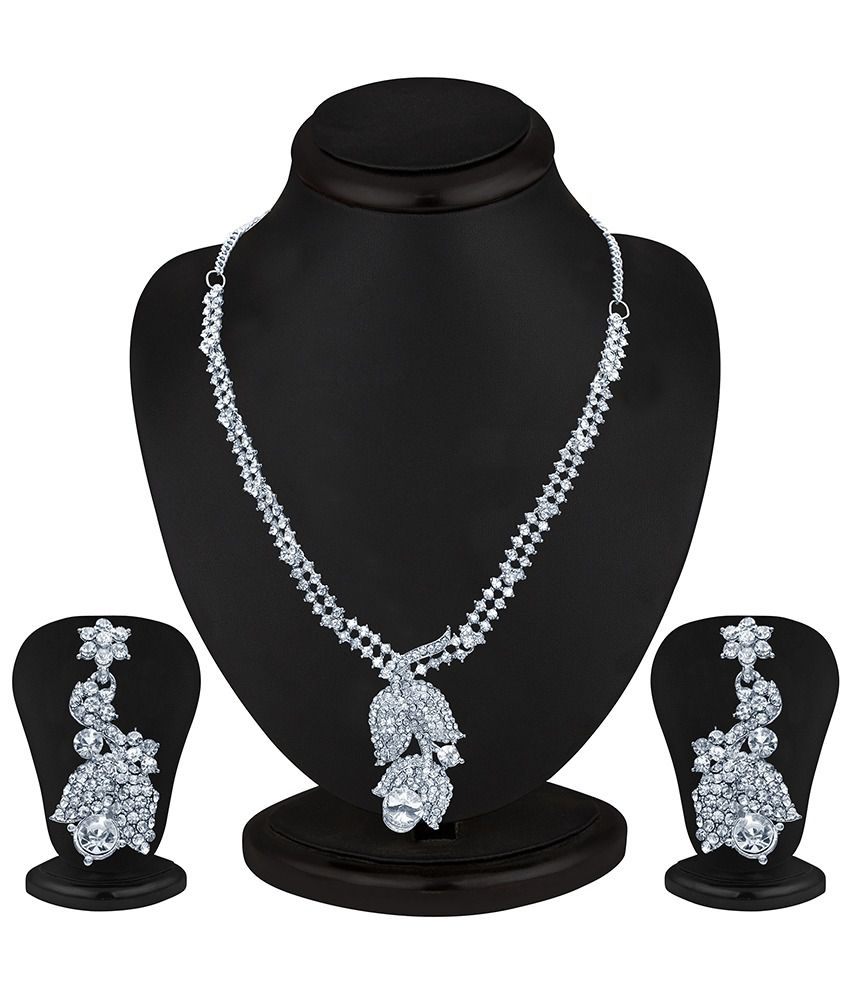 Sukkhi Glittery Rhodium plated AD Stone Necklace Set