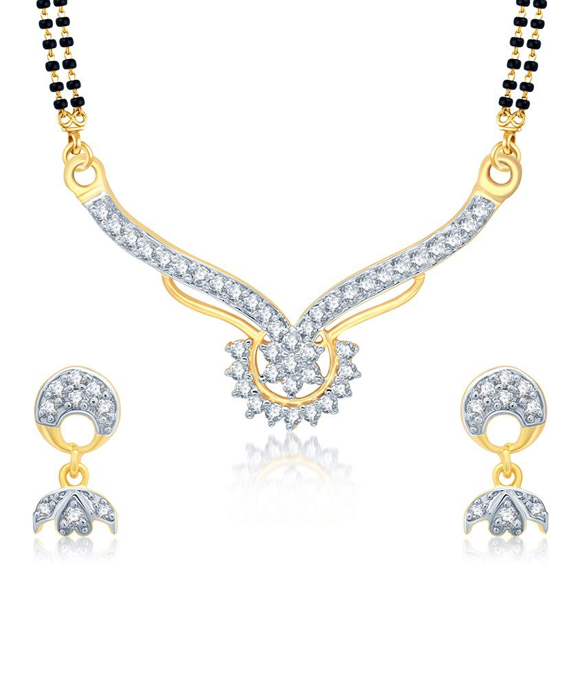 Sukkhi Marvelous Gold and Rhodium Plated Cubic Zirconia Stone Studded Mangalsutra Set (Mangalsutra Mala may vary from the actual image)