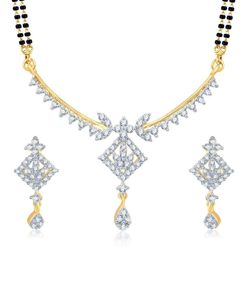 Sukkhi Pleasing Gold and Rhodium Plated Cubic Zirconia Stone Studded Mangalsutra Set (Mangalsutra Mala may vary from the actual image)