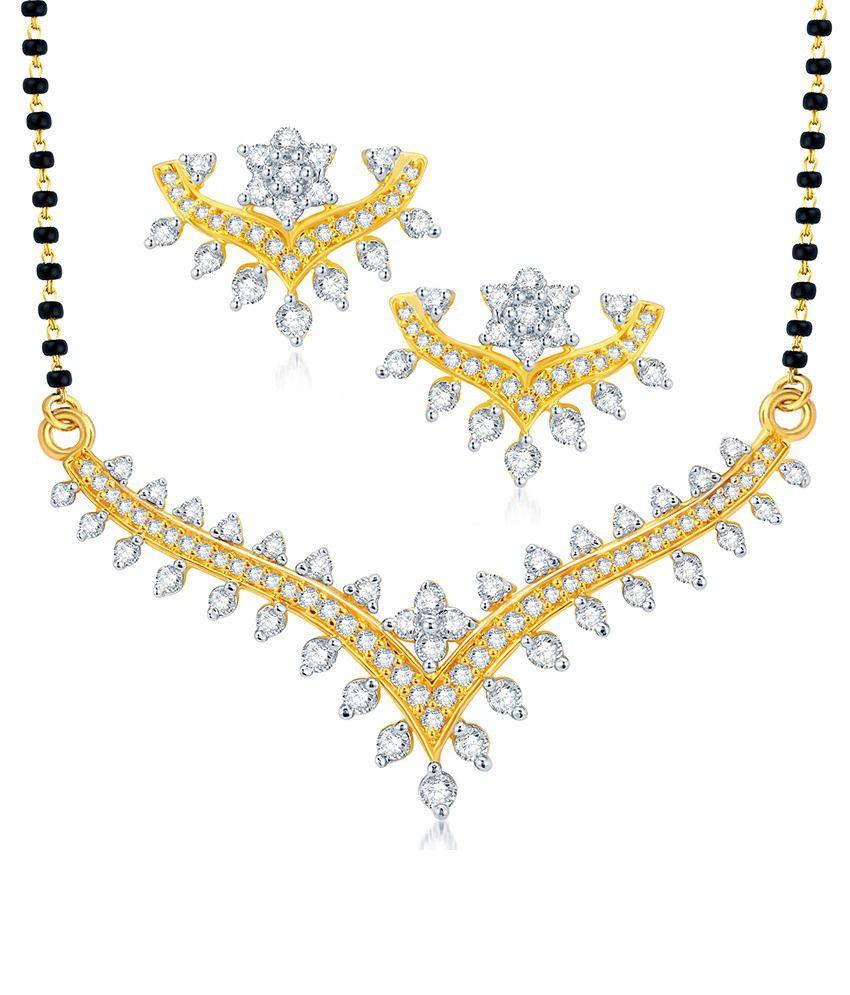 Sukkhi Pretty Gold & Rhodium Plated CZ Mangalsutra Set
