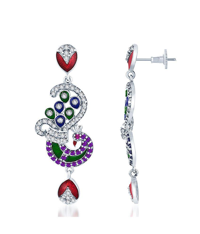 Sukkhi Rajasthani Peacock Oxidize plated CZ Studded Chandelier Earrings