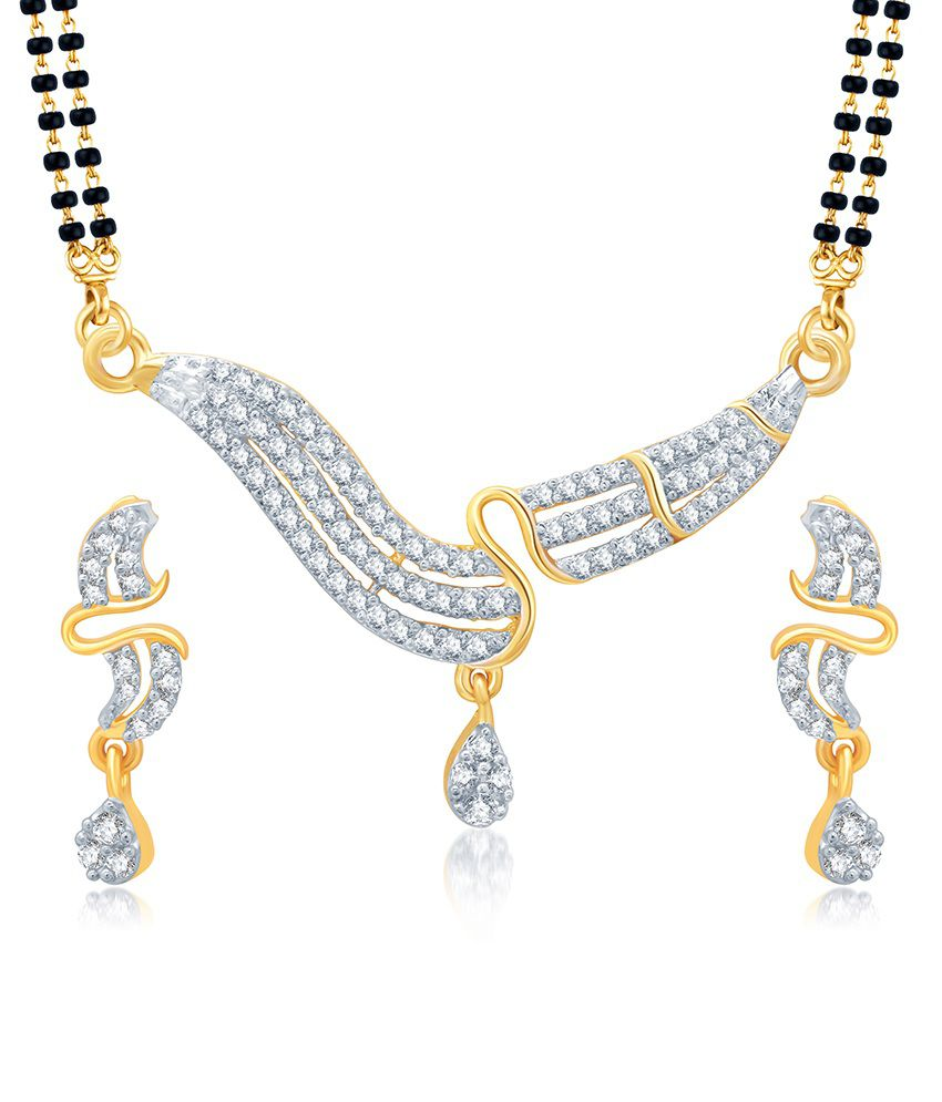 Sukkhi Sleek Gold and Rhodium Plated Cubic Zirconia Stone Studded Mangalsutra Set (Mangalsutra Mala may vary from the actual image)