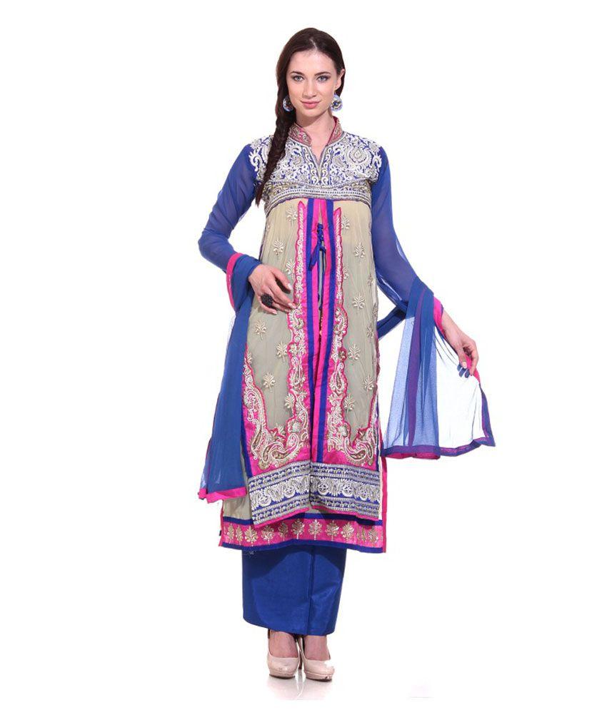 Vaishali Suit Centre Blue Border Work Pure Georgette Salwar Suit Dress  Material - Buy Vaishali Suit Centre Blue Border Work Pure Georgette Salwar  Suit Dress ... 5312f39ba