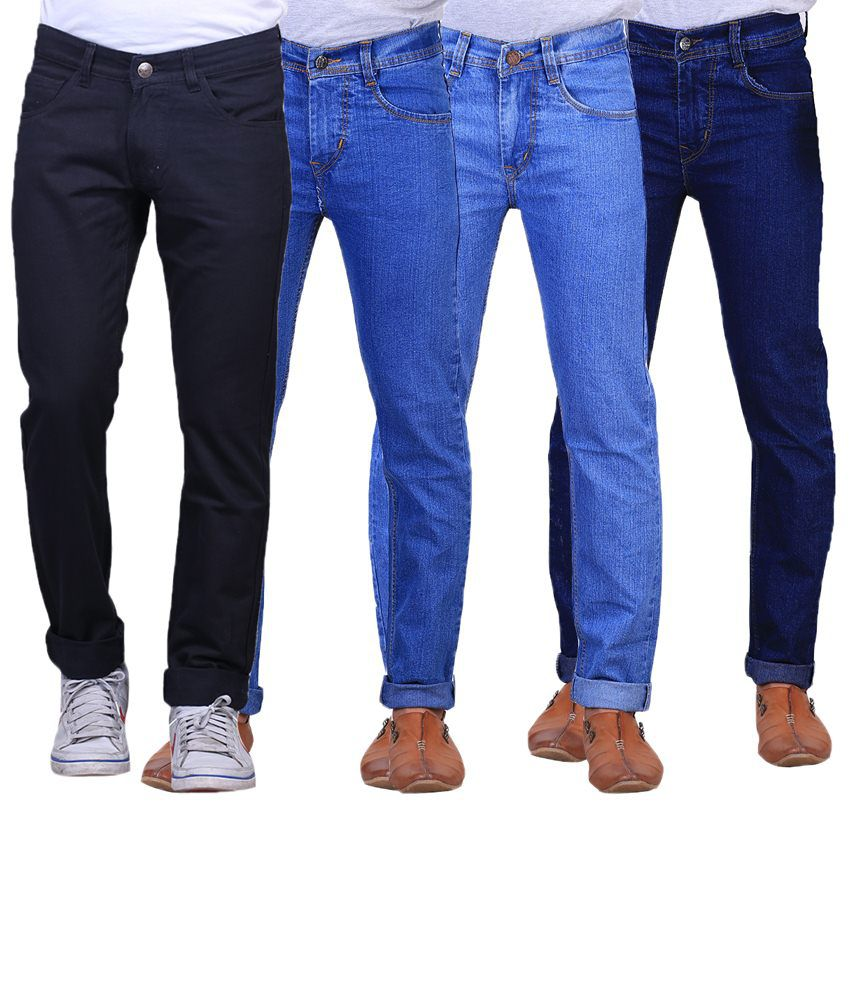 X-Cross Amazing Combo Of 4 Blue & Black Regular Fit Jeans For Men