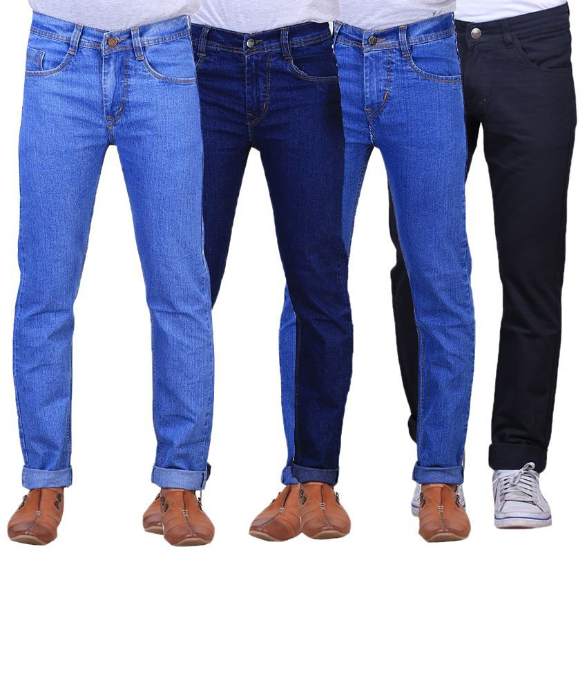 X-Cross Classic Combo Of 4 Blue & Black Regular Fit Jeans For Men