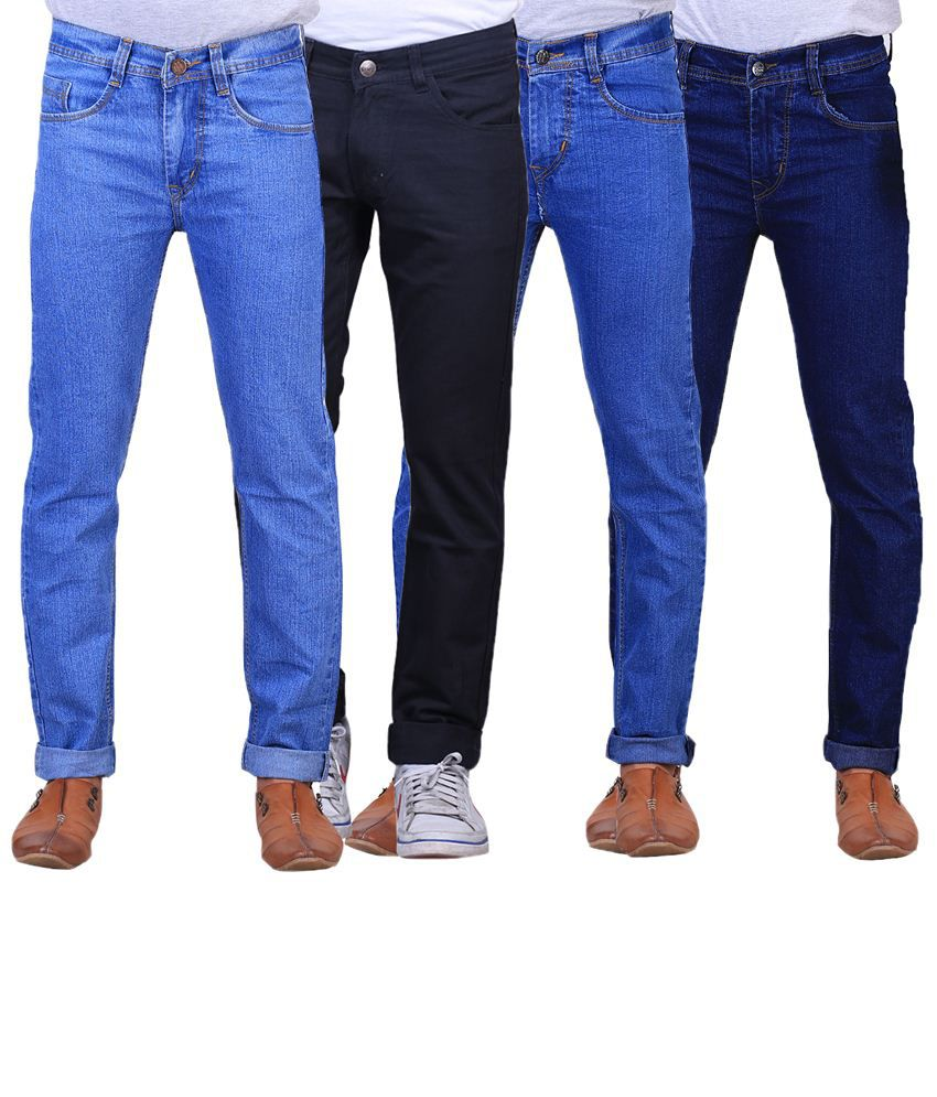 X-Cross Classy Combo Of 4 Blue & Black Regular Fit Jeans For Men