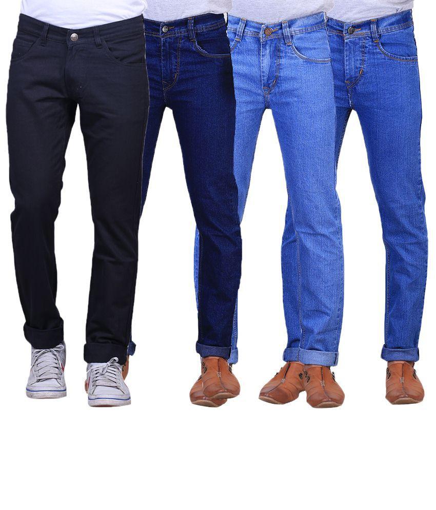 X-Cross Combo Of 4 Blue & Black Regular Fit Jeans For Men