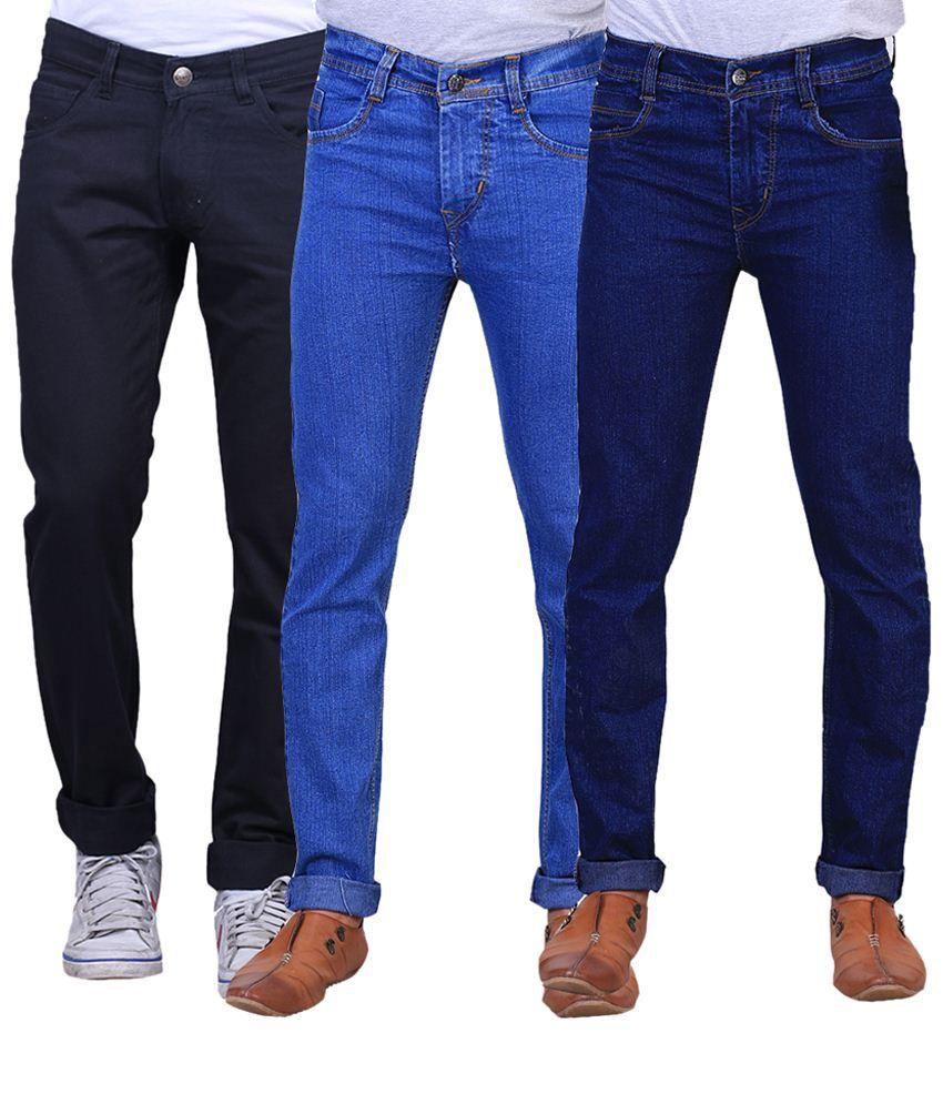 X-Cross Fabulous Combo Of 3 Blue & Black Regular Fit Jeans For Men
