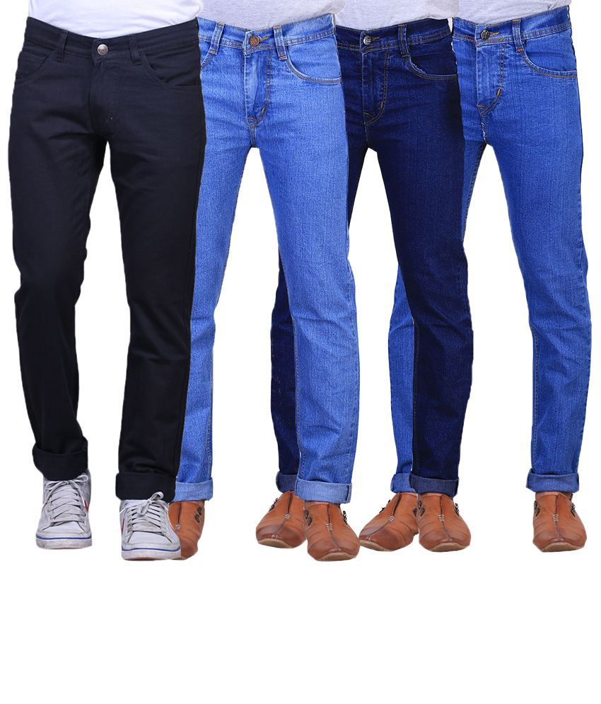 X-Cross Fashionable Combo Of 4 Blue & Black Regular Fit Jeans For Men