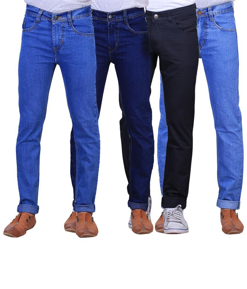 X-Cross Modish Combo Of 4 Blue Regular Fit Jeans For Men