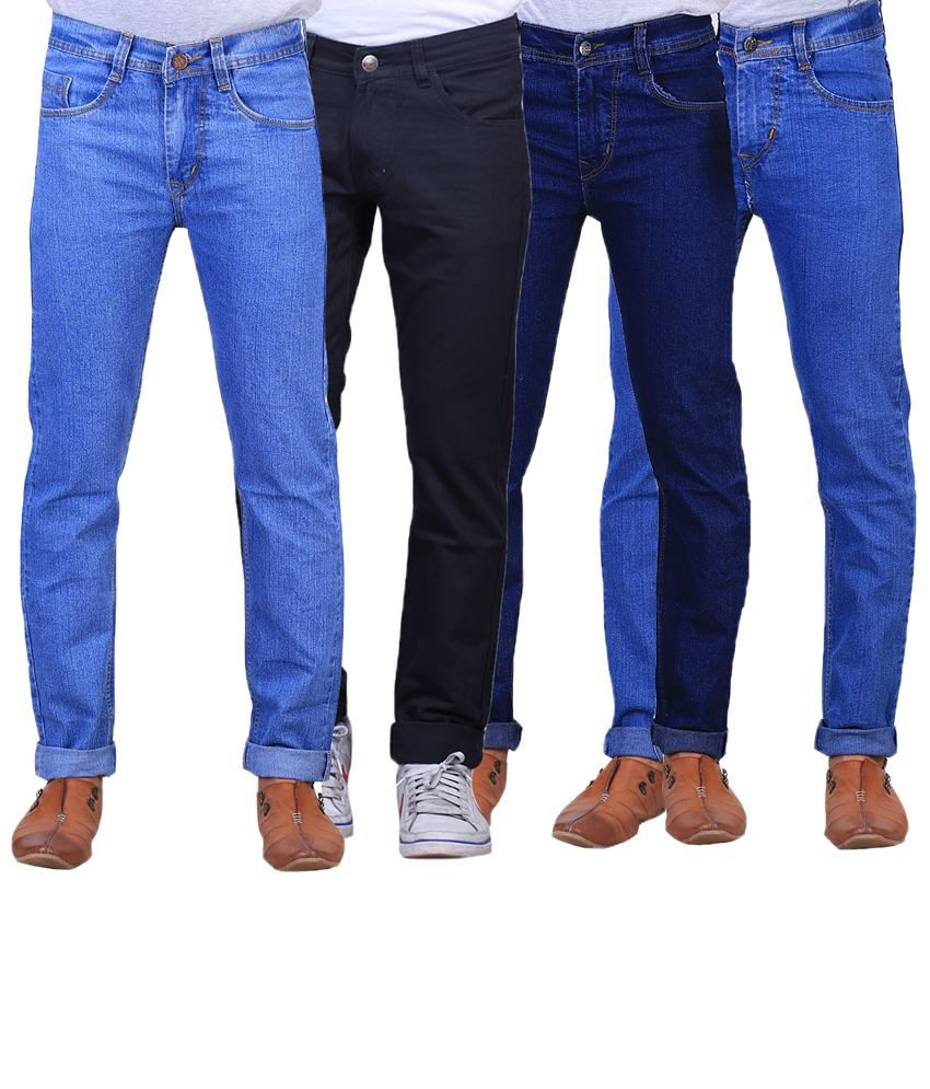 X-Cross Superb Combo Of 4 Blue & Black Regular Fit Jeans For Men
