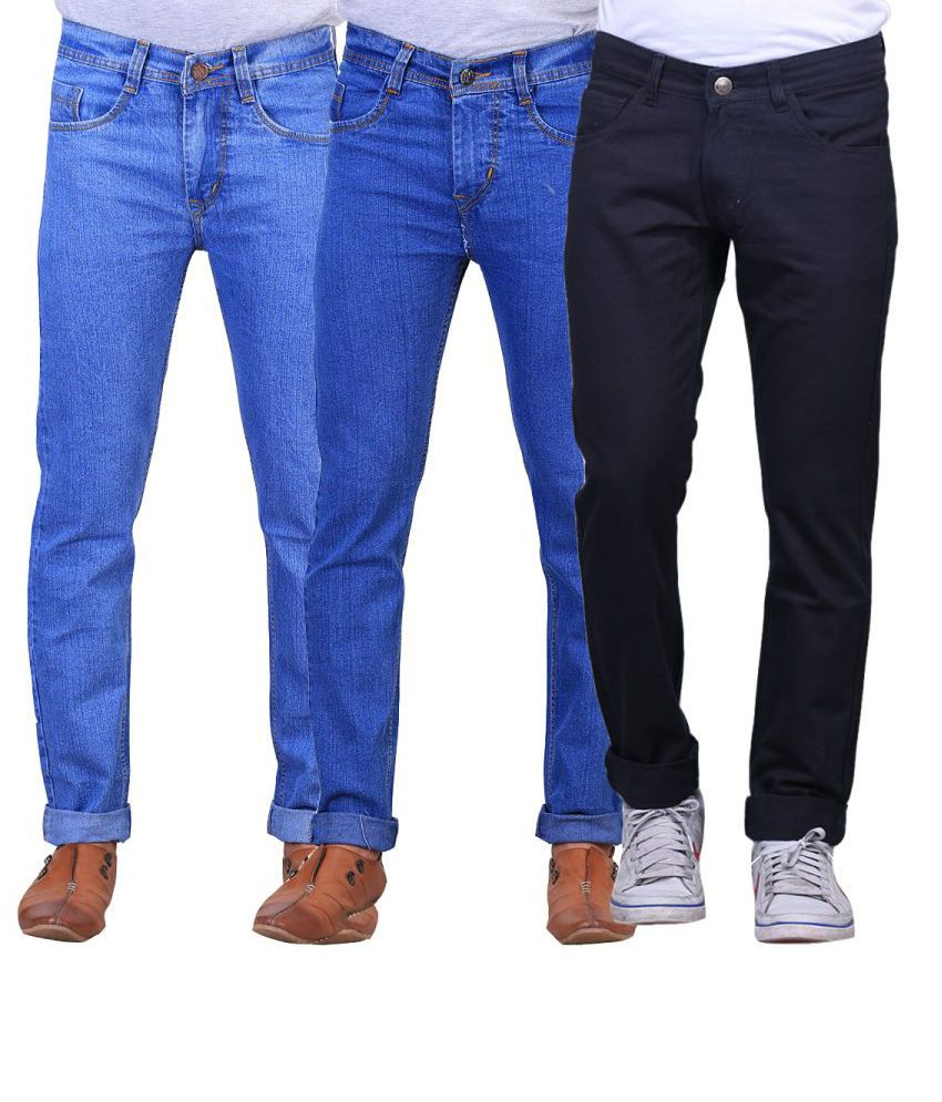 X-cross Combo Of 3 Blue Blended Cotton Jeans
