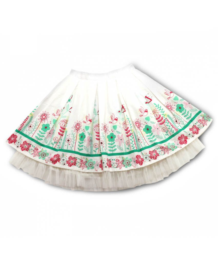 Young Birds White Cotton Printed Elastic Waist Skirt