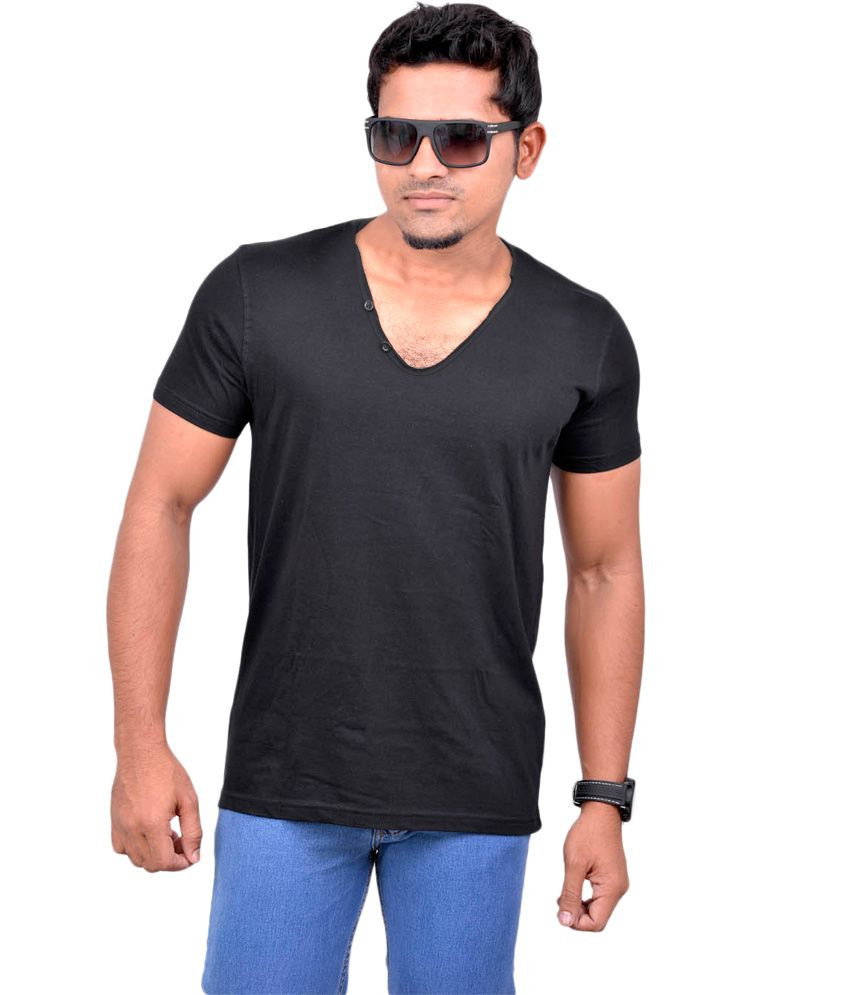 Chakravarthi Black Cotton T-Shirt