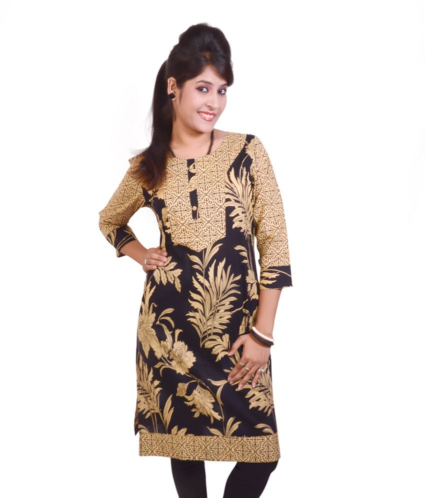 Gajban Brown Cotton Kurti