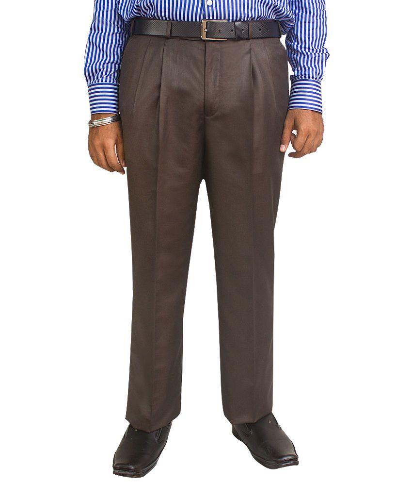 Kinger Brown Poly Viscose Regular Fit Trousers