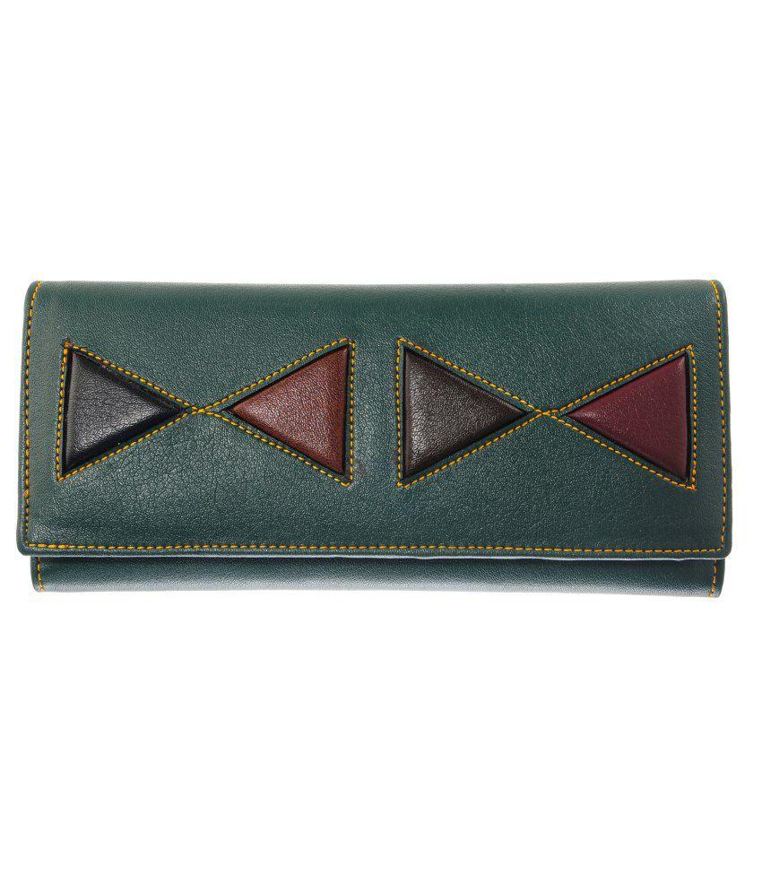 Lee Italian Green Leather Regular Wallet For Women