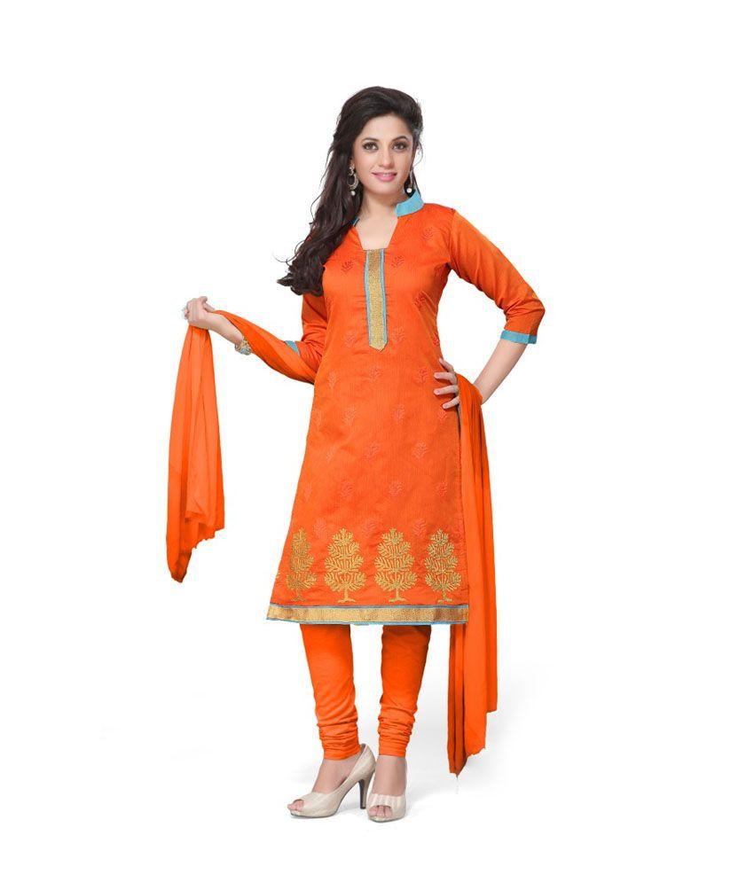 Muskmelon Multi Color Chanderi Dress Material
