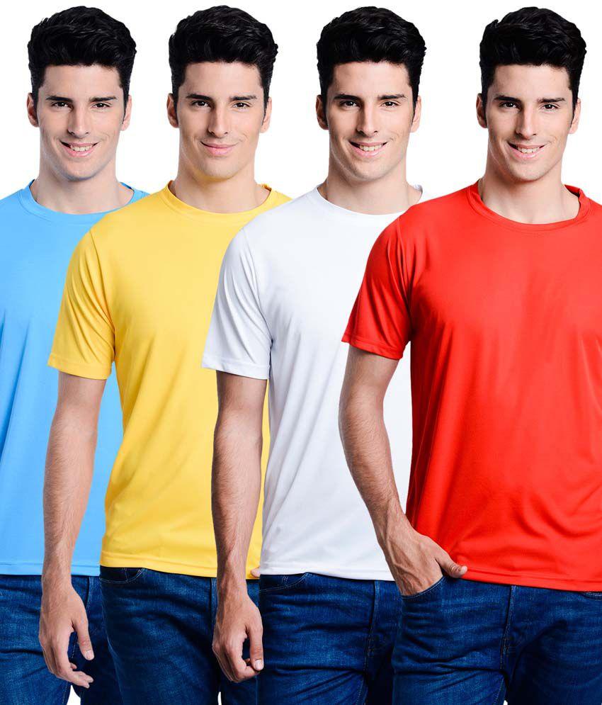 Superjoy Multicolor Polyester Round Neck Half T-shirts - Set of 4