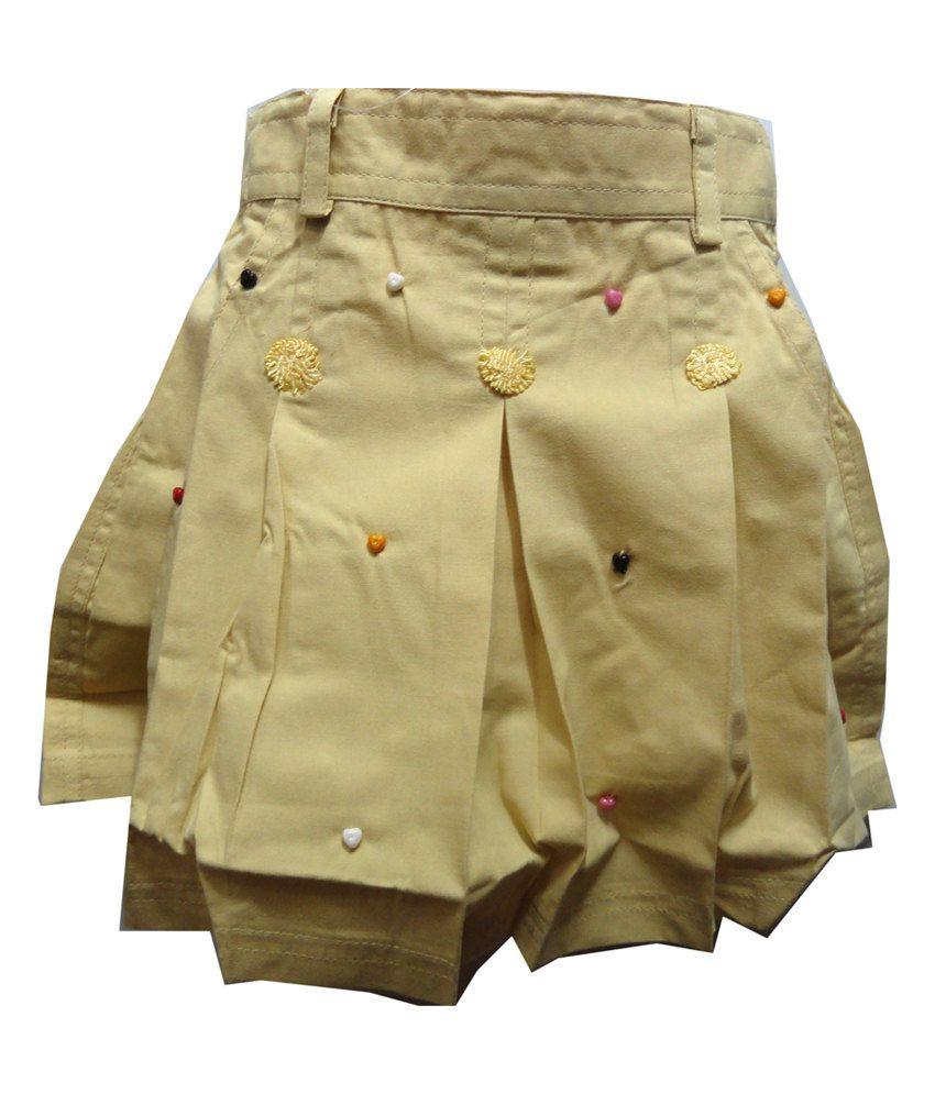 Threads Cream Cotton Printed Elastic Skirt