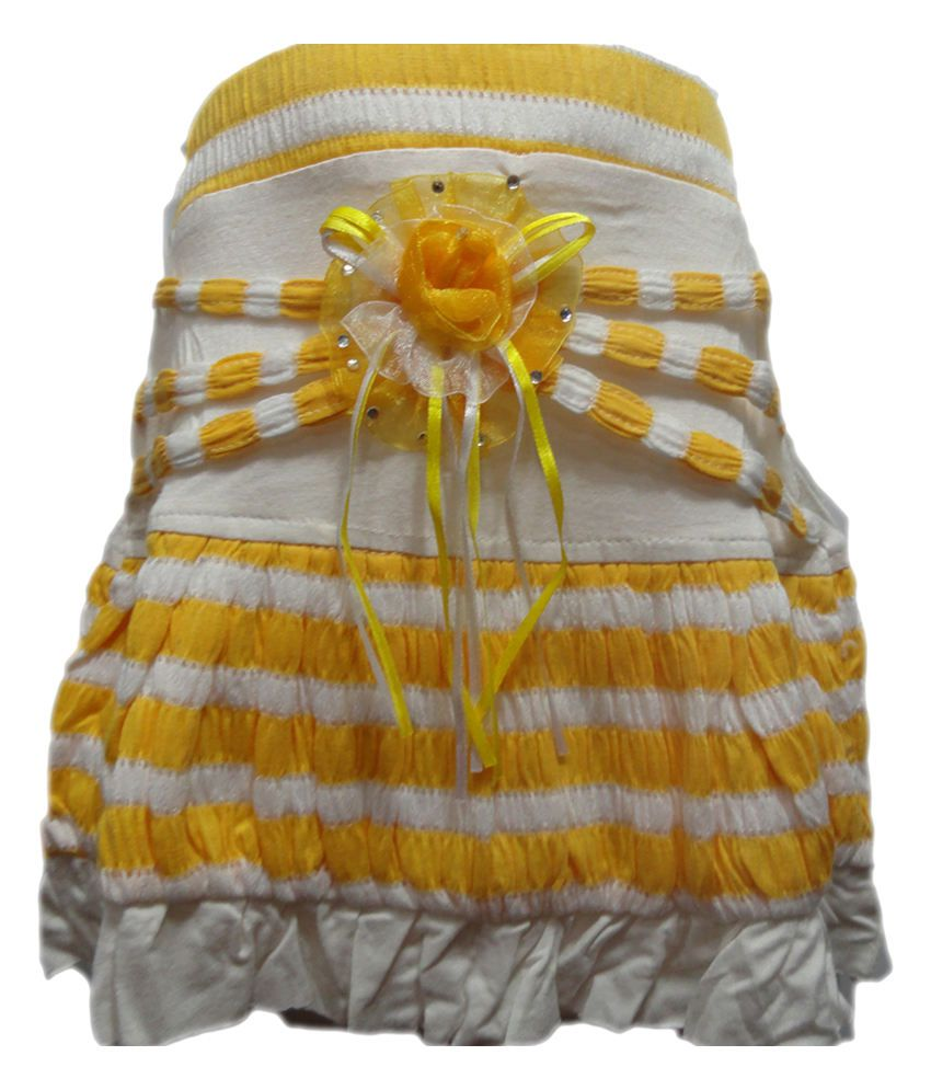 Threads Yellow Synthetic Printed Elastic Skirt