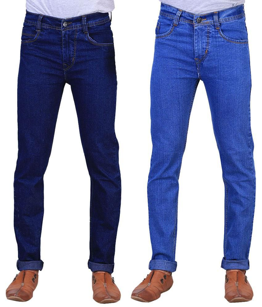 X-Cross Appealing Combo Of 2 Blue Jeans For Men