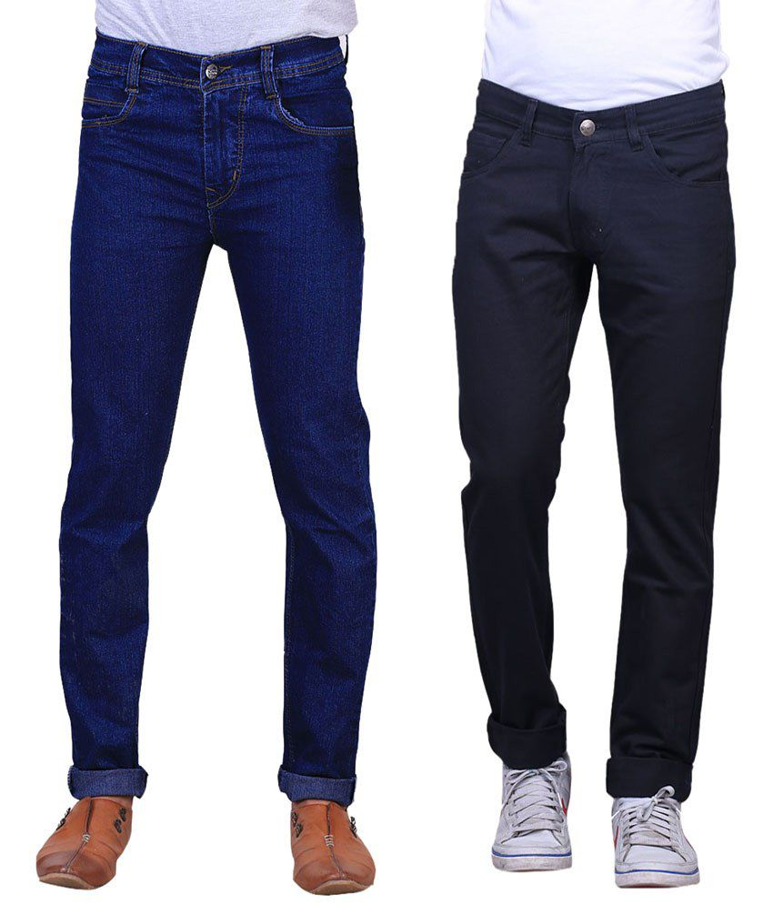 X-Cross Exquisite Combo Of 2 Blue & Black Jeans For Men