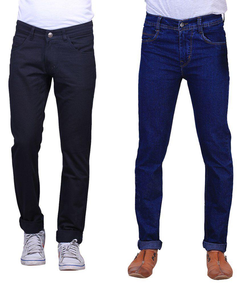 X-Cross Stylish Combo Of 2 Blue & Black Jeans For Men