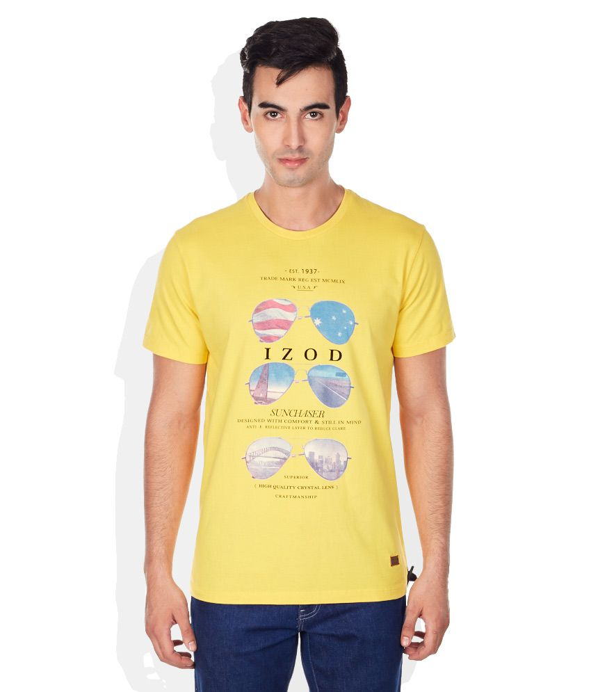 IZOD Yellow Round Neck