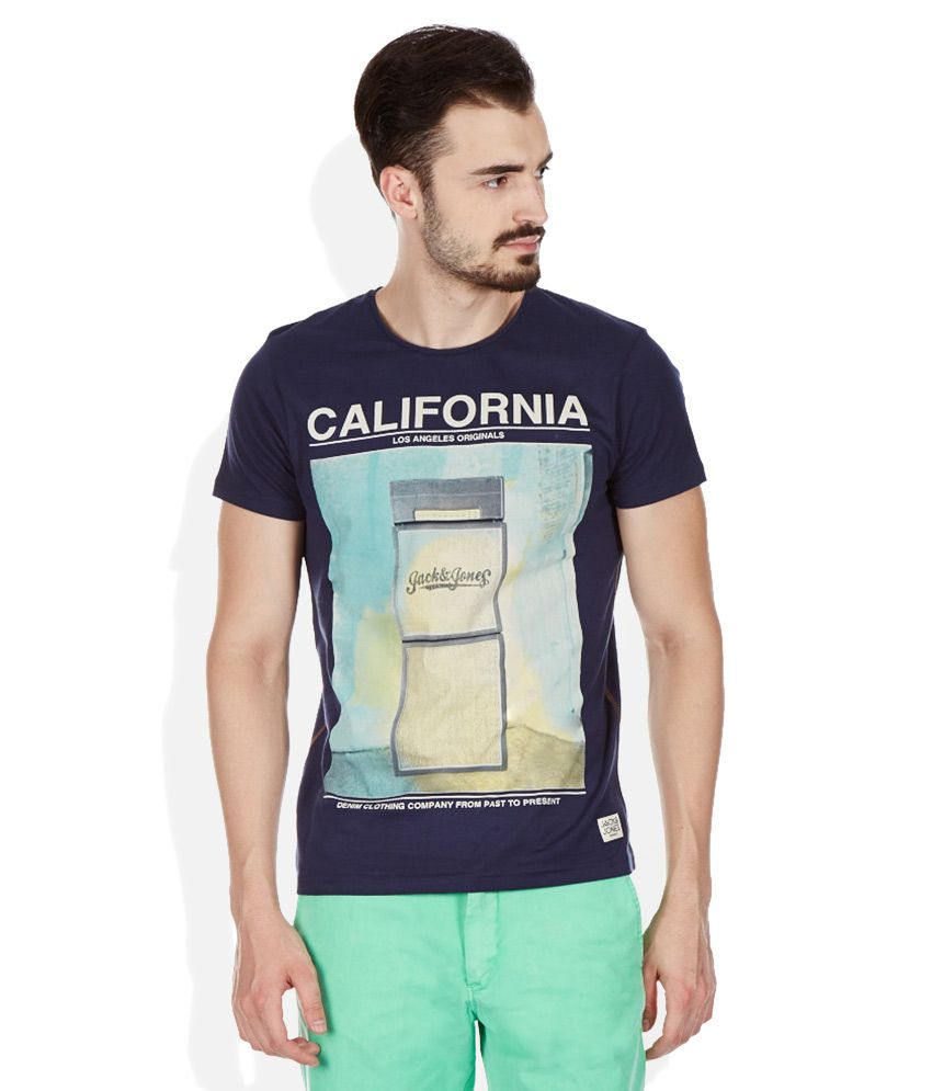 Jack & Jones Navy Round Neck T Shirt