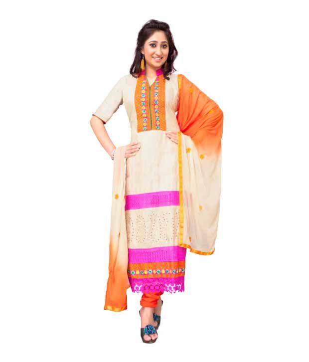 Apsara GhostWhite Cotton Unstitched Dress Material