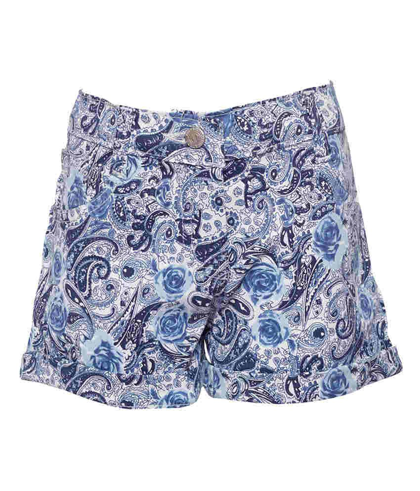Joshua Tree Blue Cotton Printed Shorts