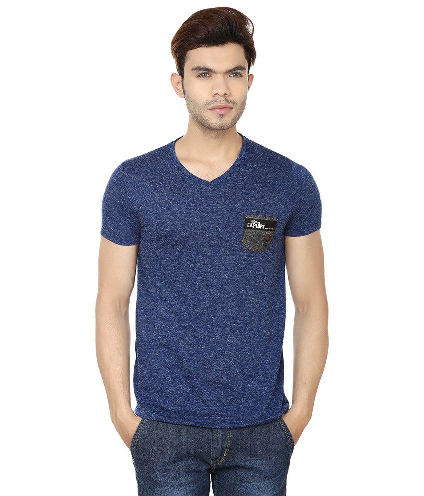 Lowcha Pocket Men's Round Neck Navy T-Shirt
