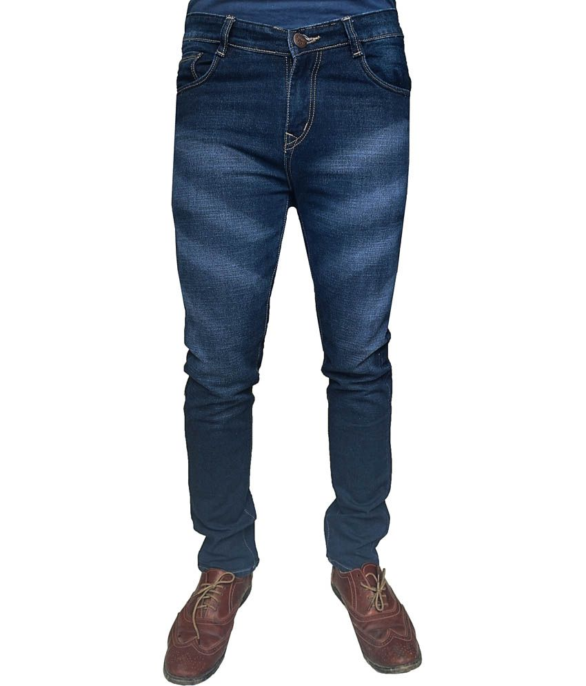 Oiin Blue Cotton Blend Slim Fit Faded Jeans