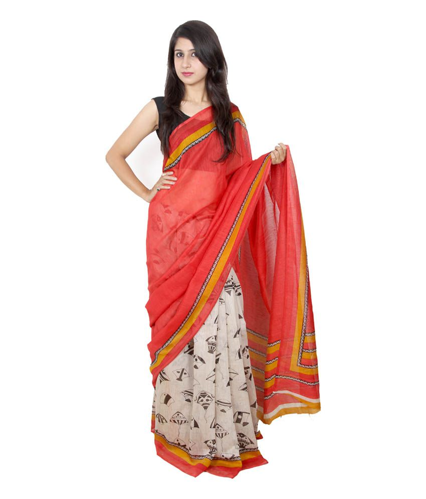 314e53126ed24 Weavers White Gicha Saree - Buy Weavers White Gicha Saree Online at Low  Price - Snapdeal.com