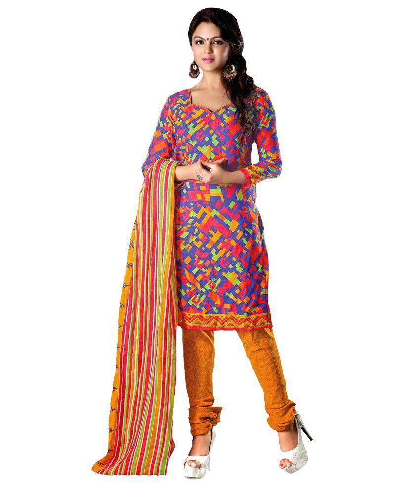 Rurda Fashion Printed Multi Color Poly Cotton Unstitched Dress Material