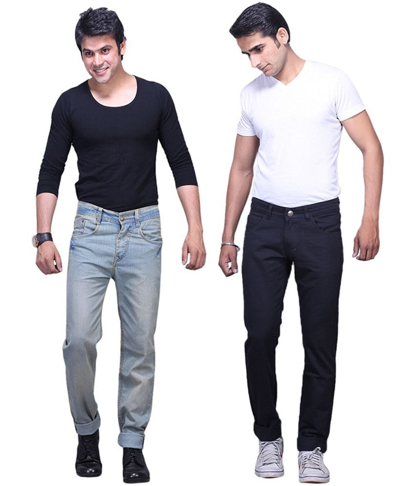 X-CROSS Black and Grey Cotton Blend Regular Fit Jeans - Pack of 2