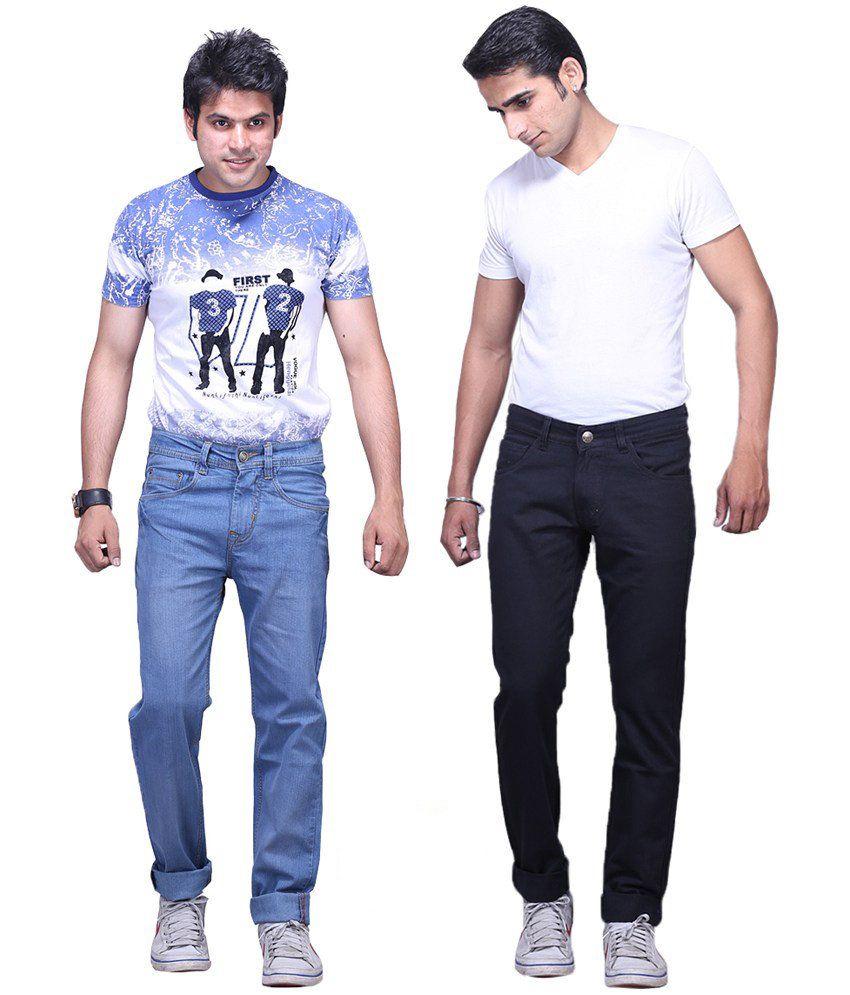 X-CROSS Light Blue and Black Cotton Blend Regular Fit Jeans - Pack of 2