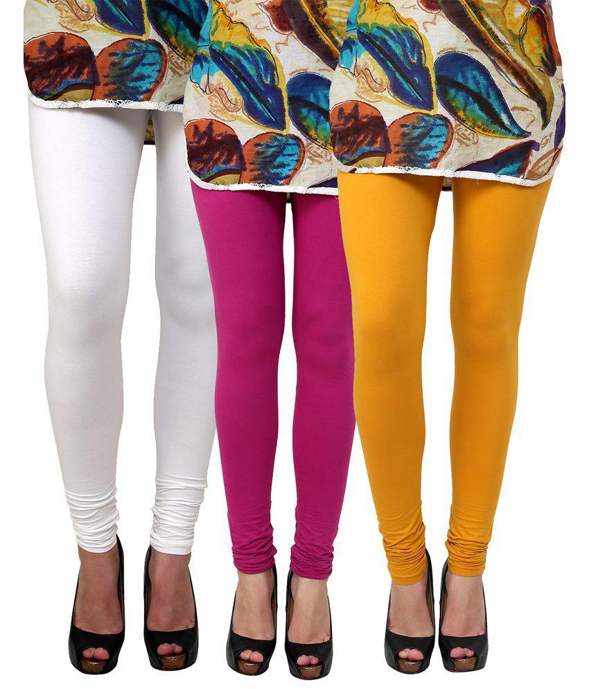 Anekaant Multi Color Cotton Leggings - Pack of 3