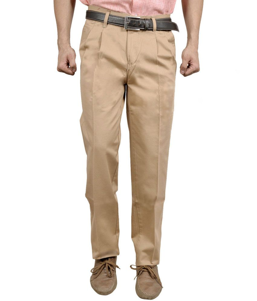 Studio Nexx Beige Cotton Regular Fit Men Trouser