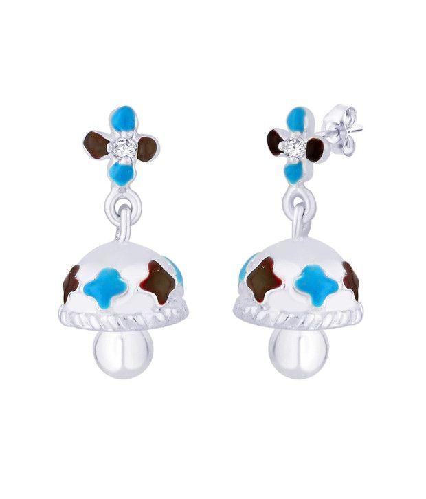 Taraash 92.5 Sterling Silver Floral Jhumki Earrings