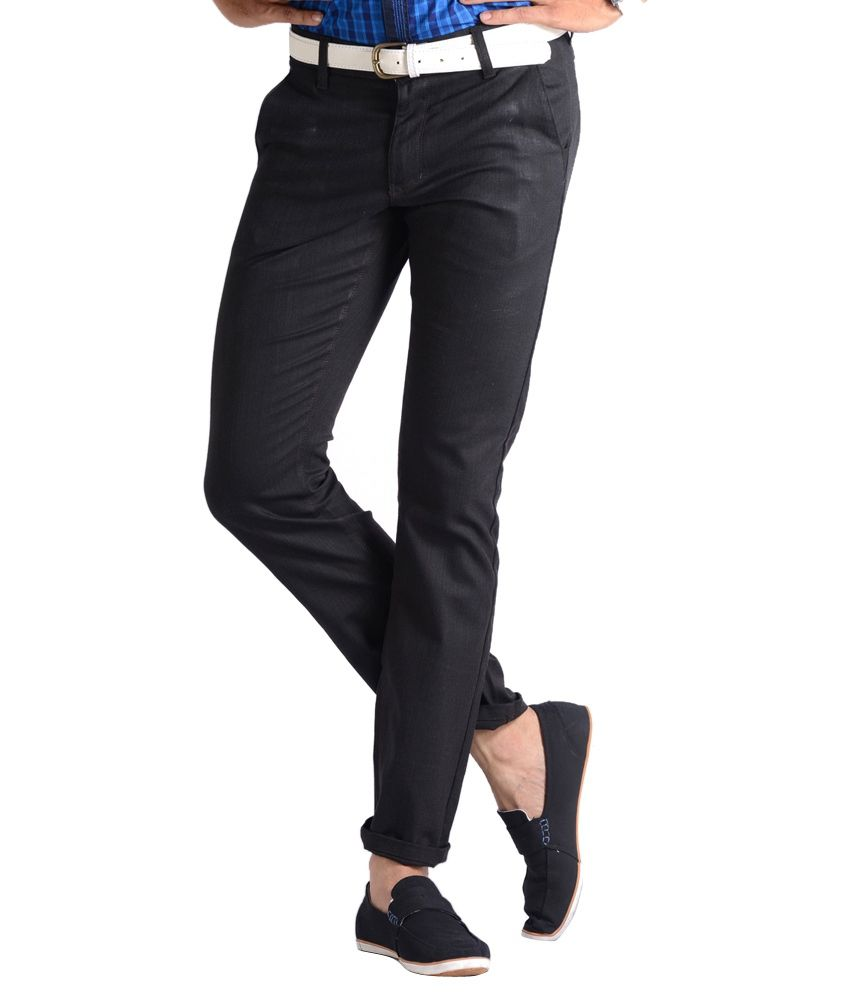 Vintage Black Cotton Slim Fit Casual Chinos