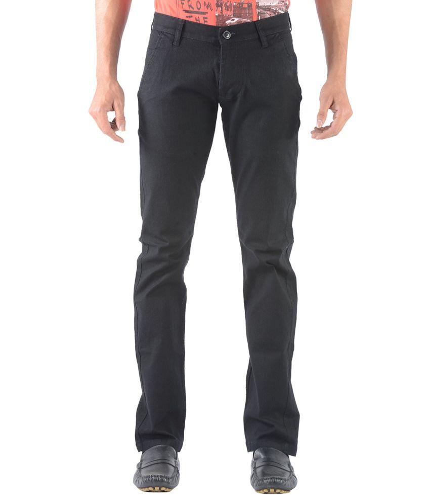 Vintage Black Linen Slim Fit Casual Chinos